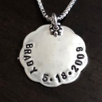 Personalized Name date necklace- Sterling silver