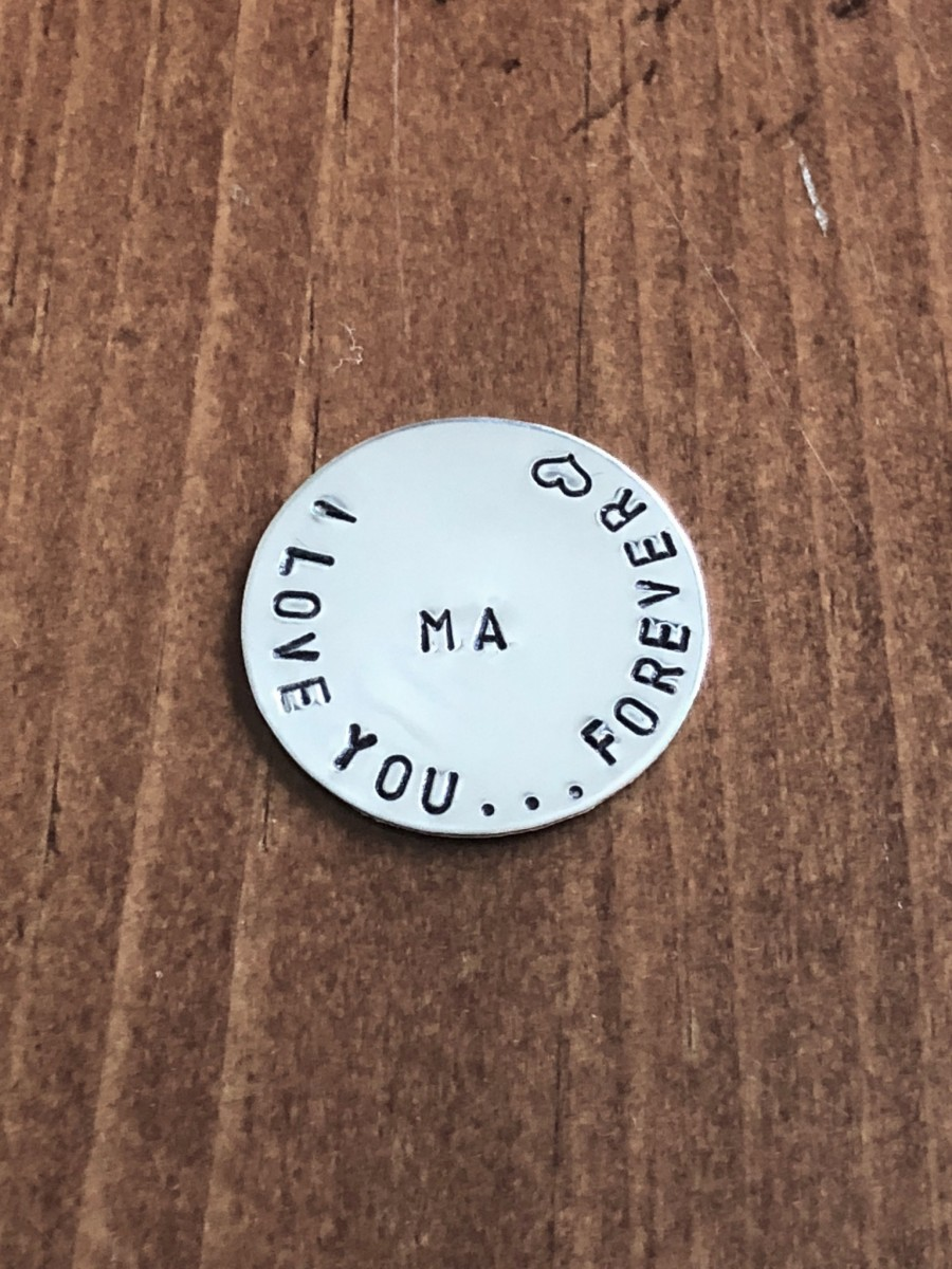 I love you forever personalized pocket token- initials