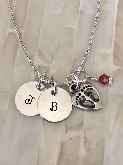 mothers twin necklace baby feet initials