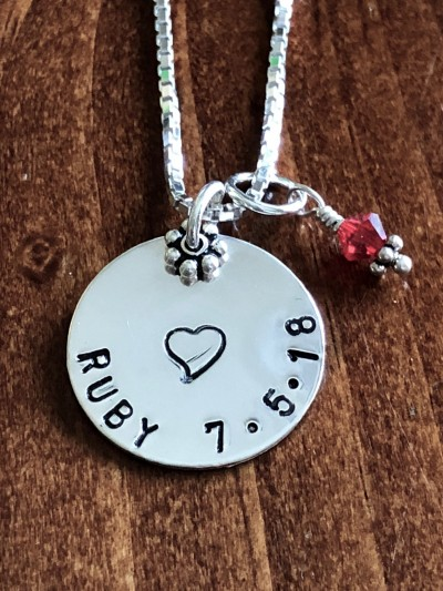 Keepsake Baby Name Birthdate Necklace Kandsimpressions