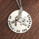 Mothers personalized autism awareness ribbon necklace