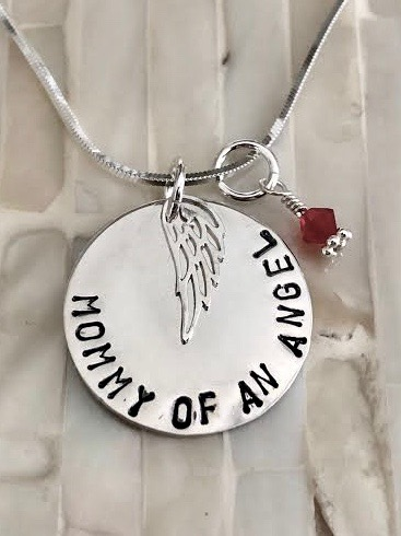mommy of angel necklace with birthstone