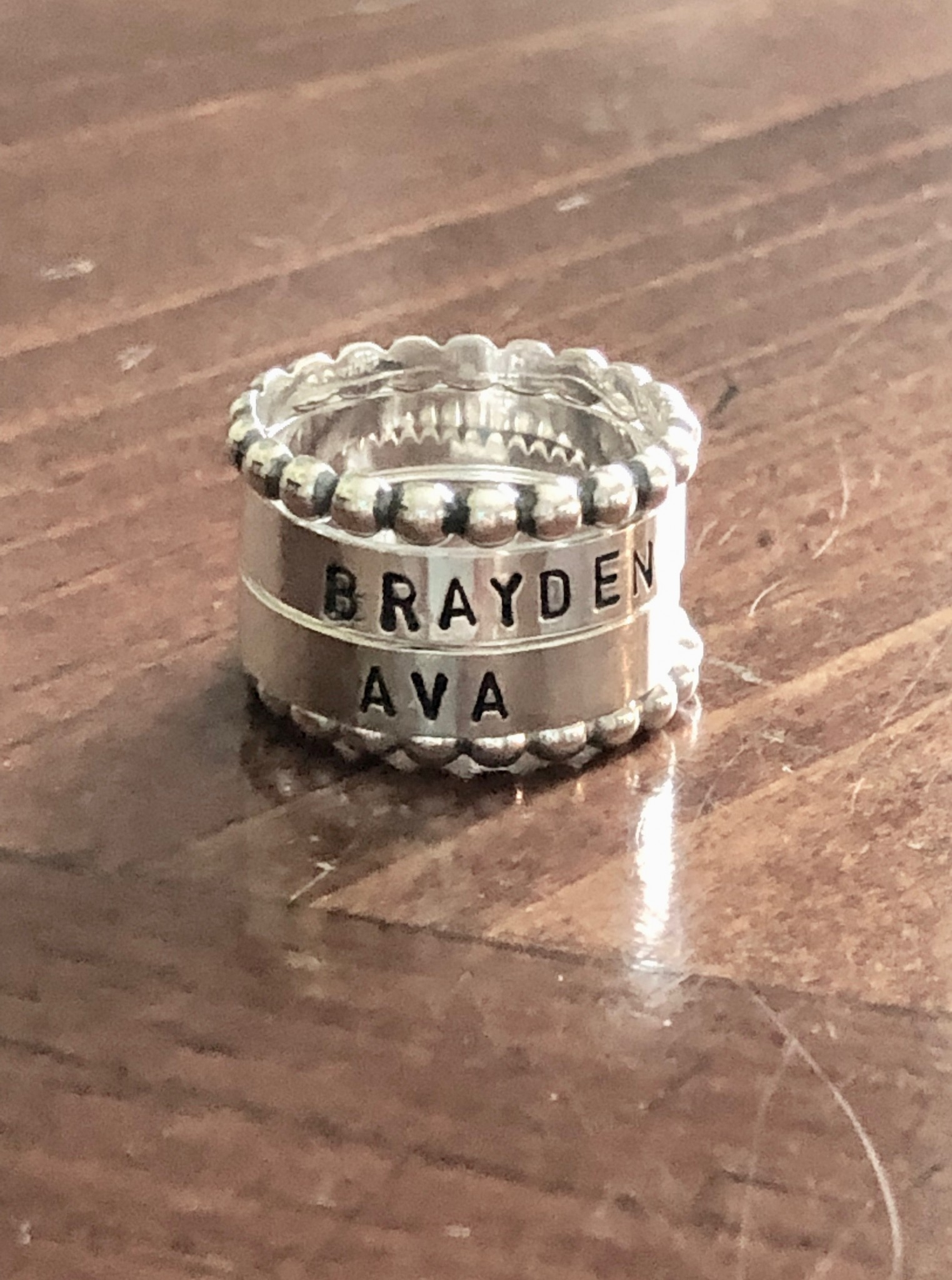 mother's name ring personalized stacking