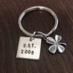 Irish clover wedding anniversary date keychain gift