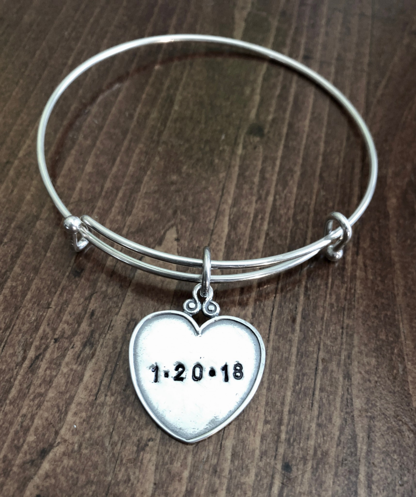 Wedding Anniversary Couples Heart Date Bracelet- Sterling Silver