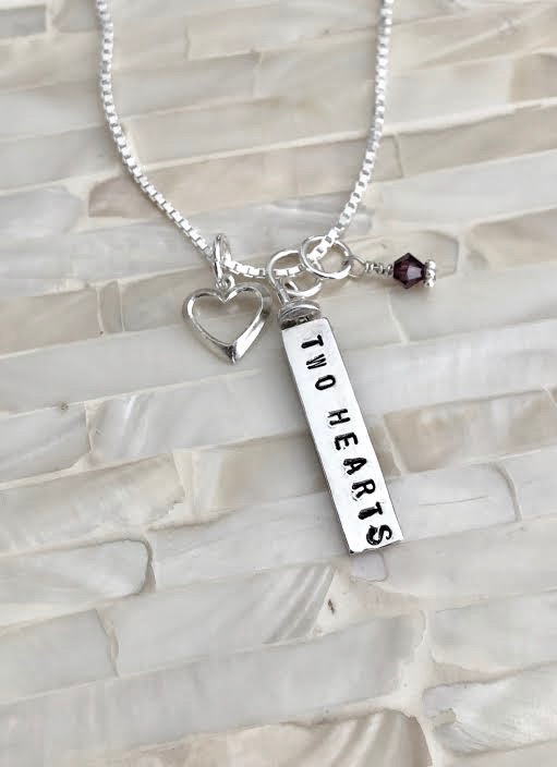 Couples Two Hearts Birthstone Necklace Kandsimpressions