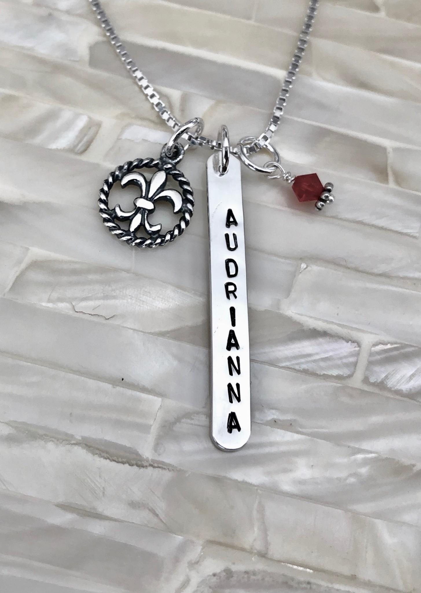Personalized Fleur De Lis Name Necklace Kandsimpressions