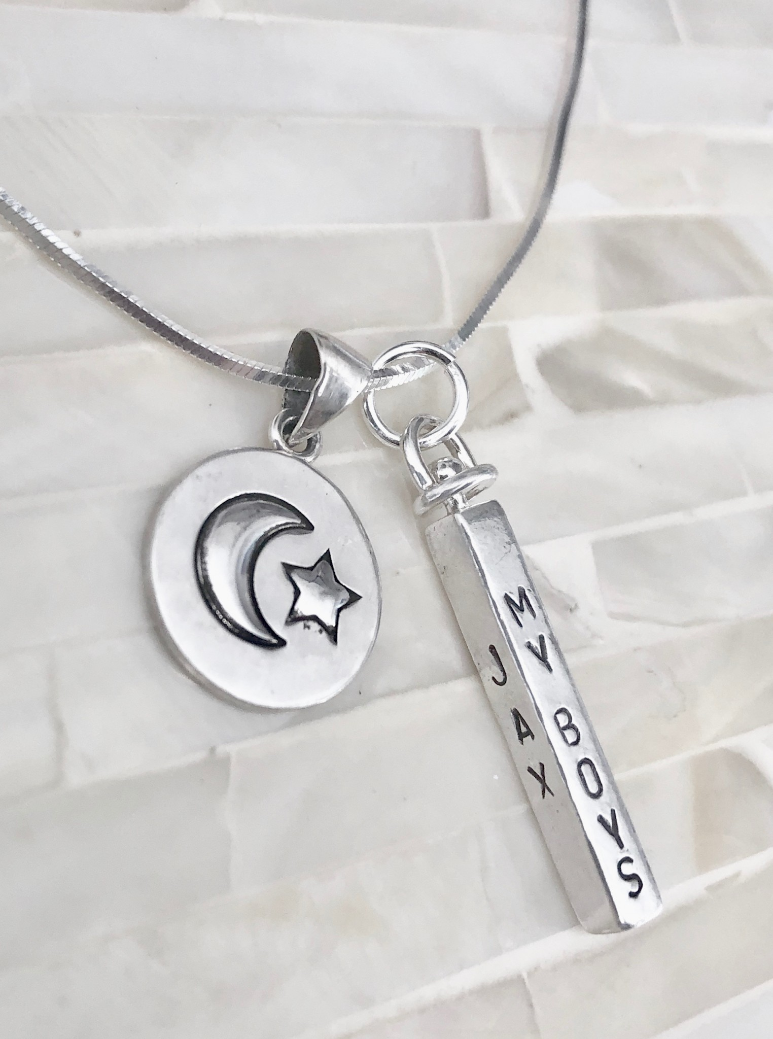 Mothers kids name necklace moon and back 2