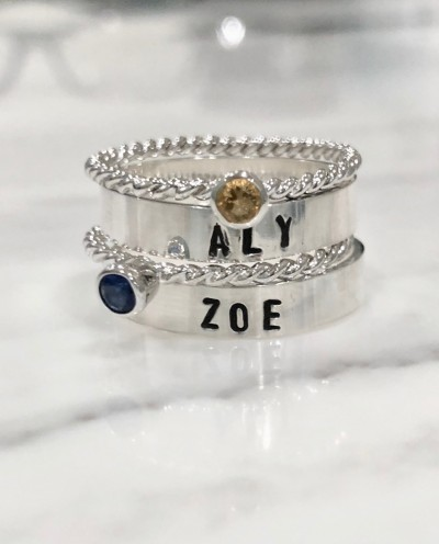 name date personalized stacking rings