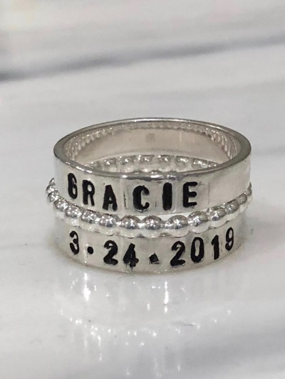 093b7822ac Hand Stamped Stackable Name Ring Set | kandsimpressions
