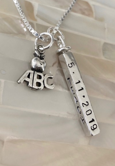 teacher graduation gift personalized necklace