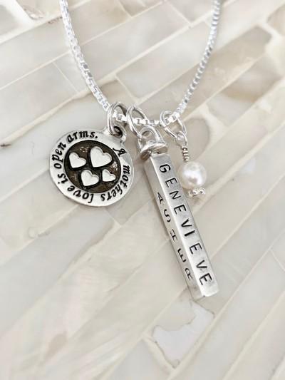Mothers Love Kids Name Bar Necklace Kandsimpressions