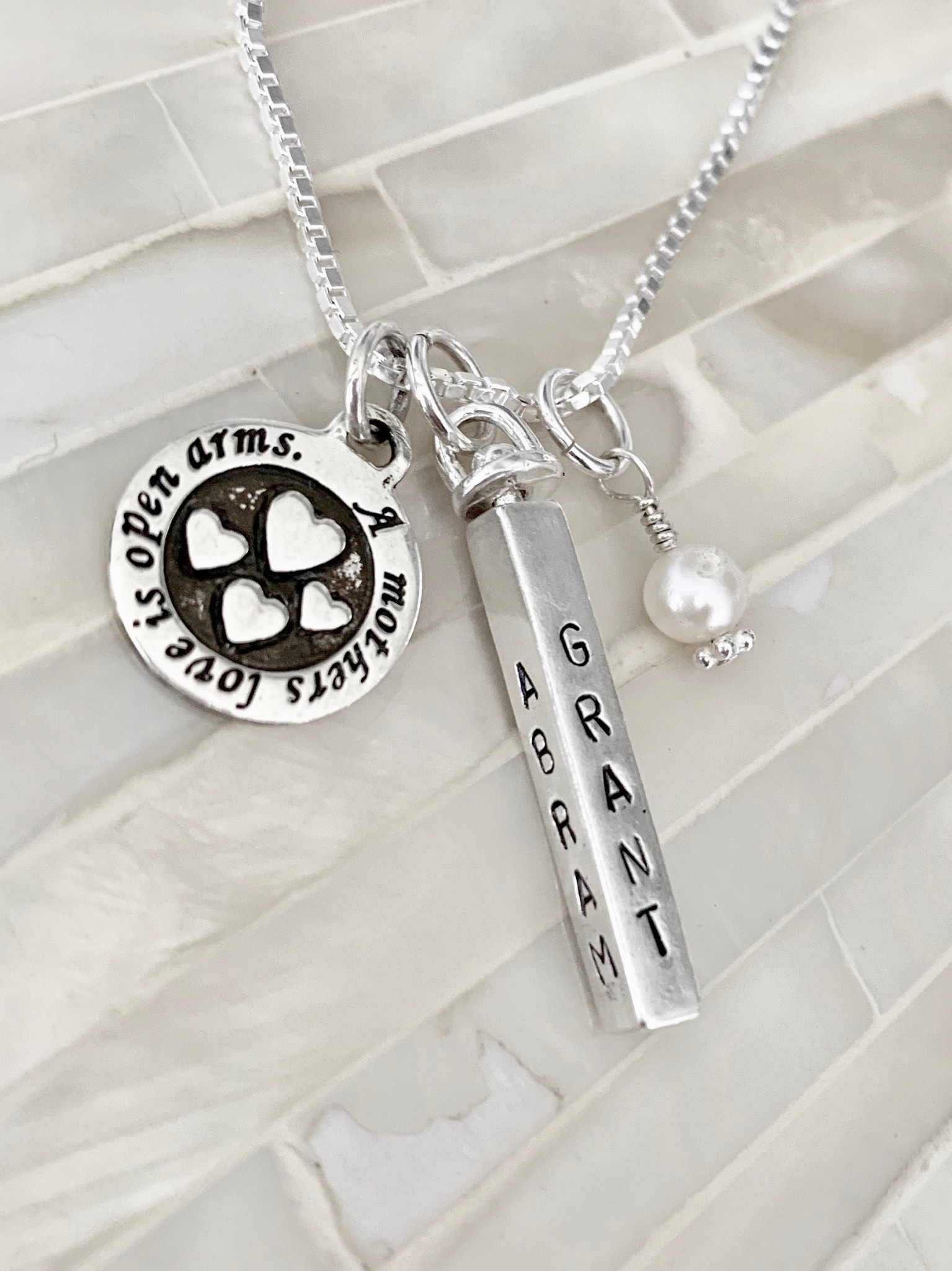 Name personalized a mothers love is open arms necklace - sterling silver