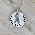 down syndrome necklace gift name awareness ribbon