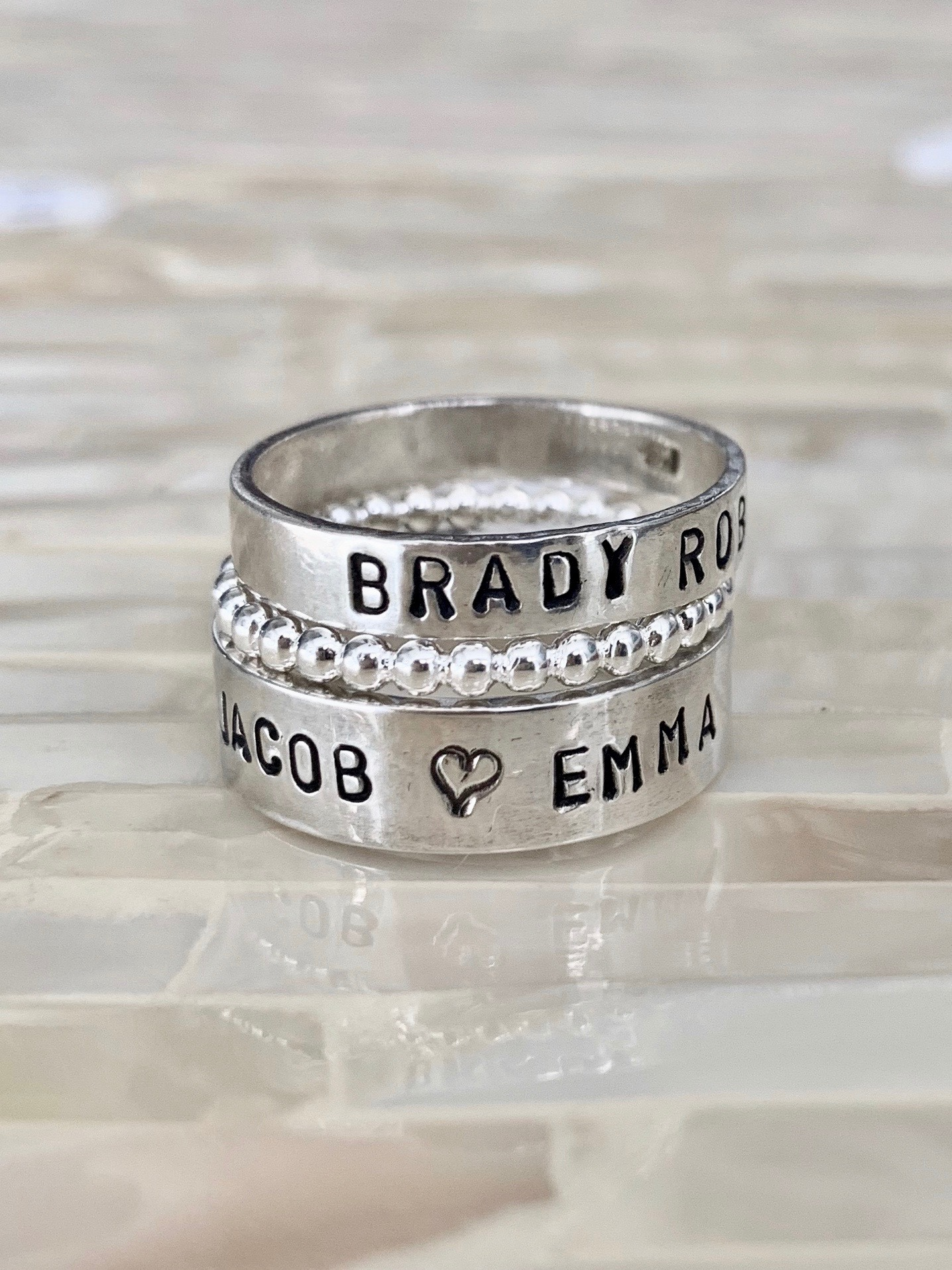 Mothers ring kids name personalized gift
