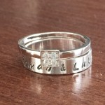 Name Date CZ personalized ring- Anniversary- Wedding- Engagement- Bridal gift