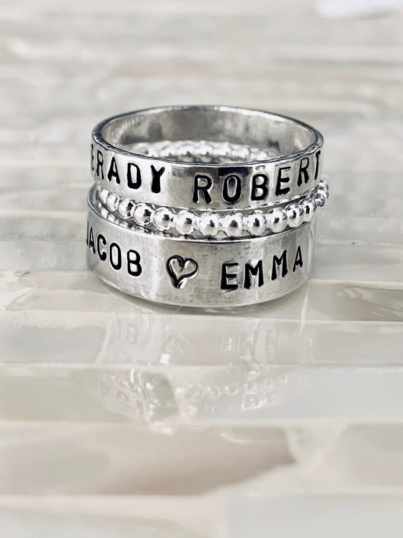 Name personalized stacking beaded ring set- Mothers- Grandmothers ring