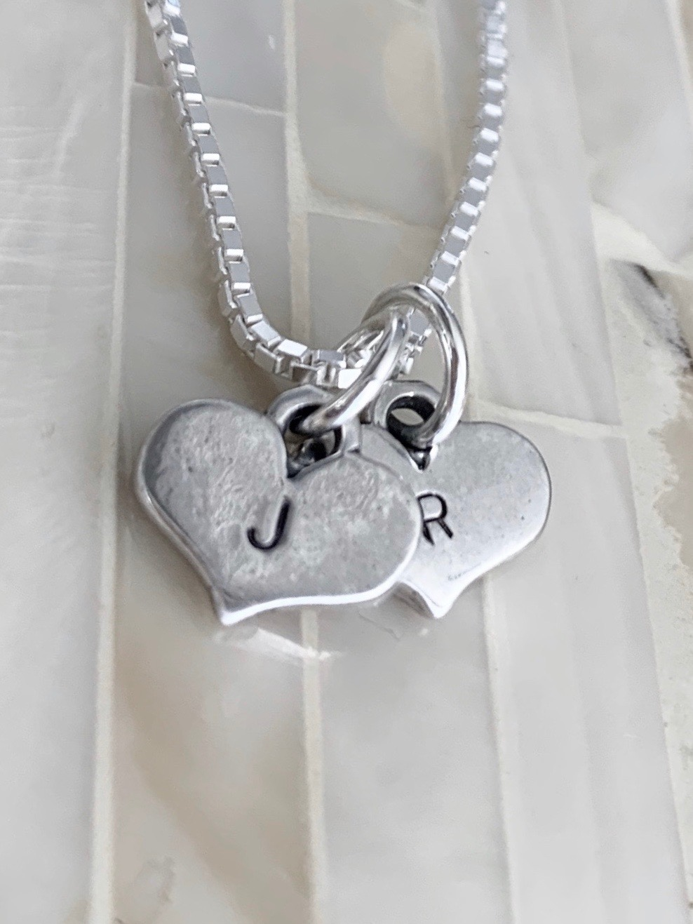 Couples Initial heart Necklace- Mothers Heart Necklace