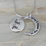 I Love you to moon and back Necklace- Sterling Silver- Valentines Gift