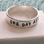 addiction, recovery gift, sobriety- one day at a time ring