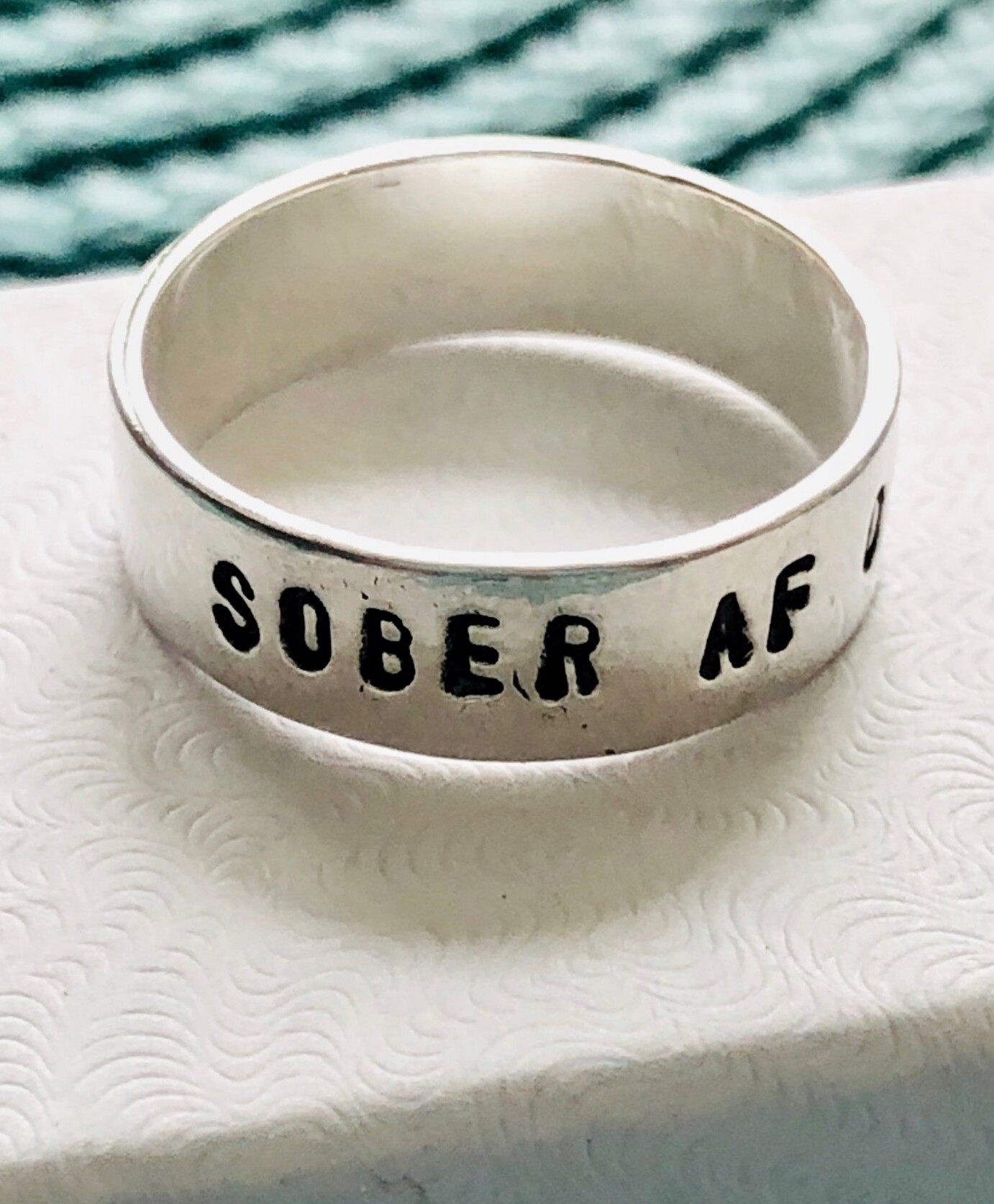 Sobriety Ring- Sober AF- Encouragement- Inspiration- Recovery
