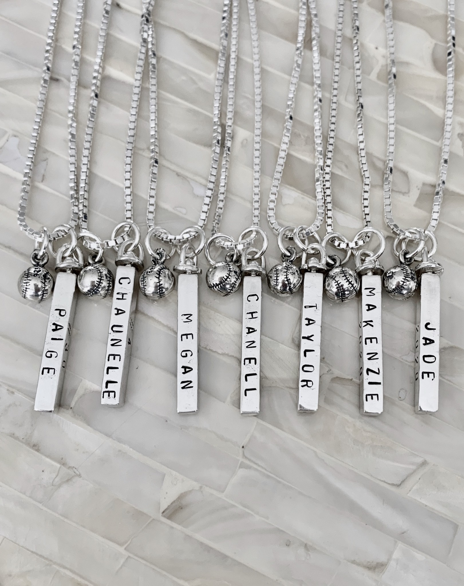 softball player team name necklace