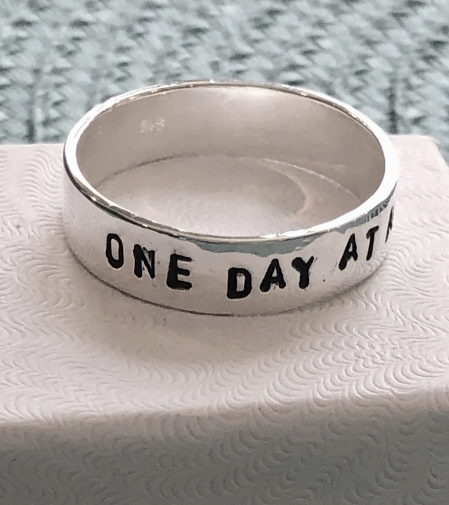 addiction recovery gift, one day at a time ring