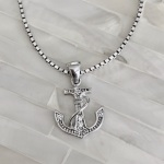 Anchor Necklace- Beach Jewelry- Sterling Silver- CZ