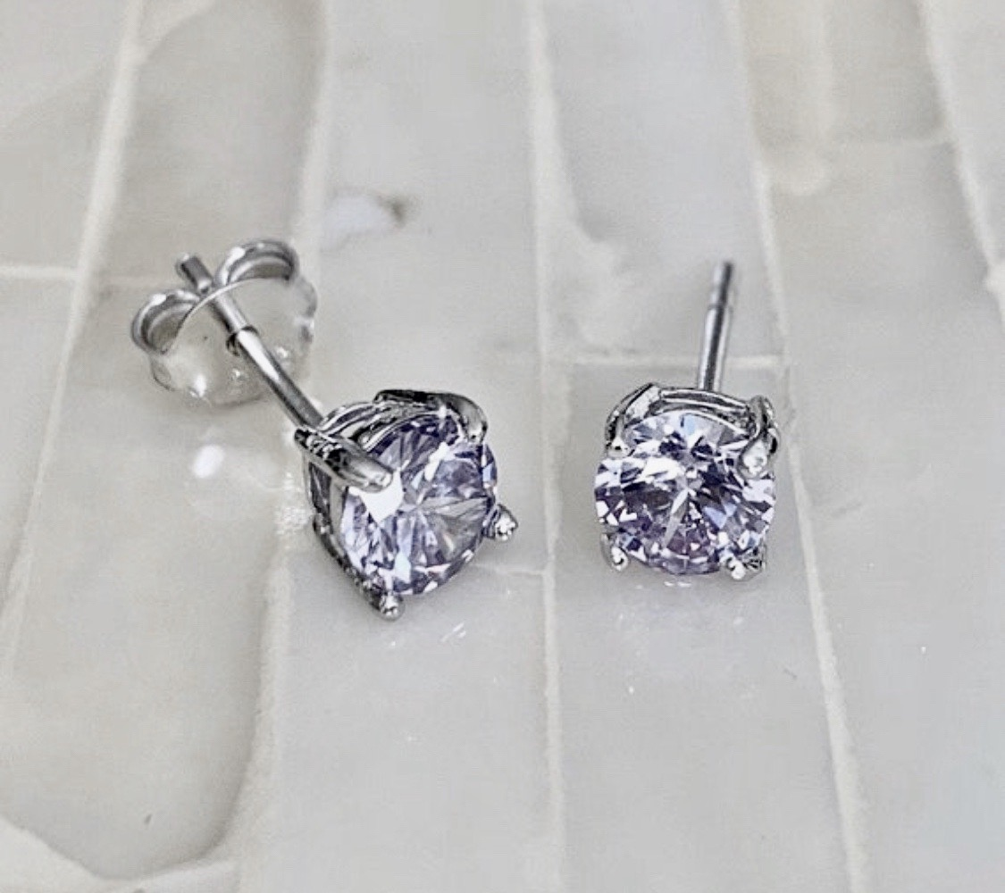 June Alexandrite Birthstone Earrings- Sterling Silver