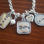 Name Layered Necklace raised edge charms