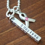 Survivor Name Bar Ribbon Necklace