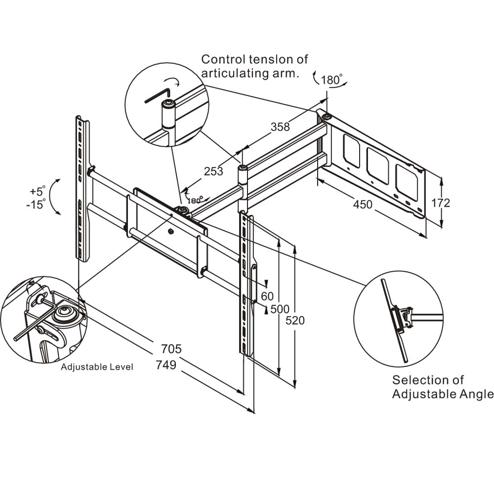 Full-Motion Corner HDTV Wall Mount