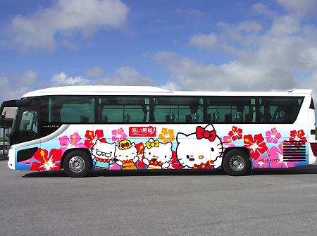 キティをあしらったバス
