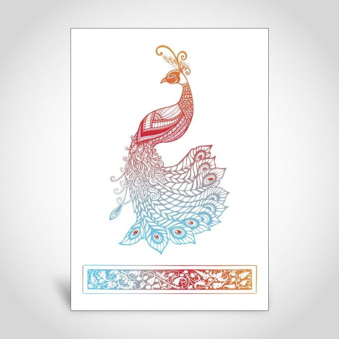 Peacock Indian Wedding Card – CFK148