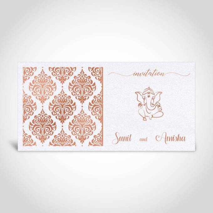 Pearl White and Rose Gold Foiled Hindu Wedding Invitation Card