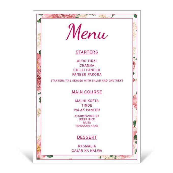 Floral Theme Table Menu – 2