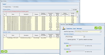 Figure 5: Gain library and gain type manager
