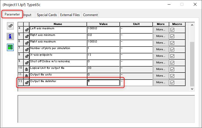 ParameterタブでDelimiter(区切り文字)を2(カンマ)へ変更する