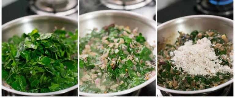 Vegan-south-indian-murungai-keerai-drumstick-leaves-poriyal-moringa-recipe-wilted-greens |kannammacooks.com #murungai #moringa #stir-fry #iron #minerals #vitamin # rich #south #indian