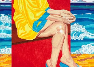 Blue Flip Flops by Jeanne Trueax