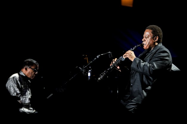 OSAKA, JAPAN - APRIL 30:  Herbie Hancock (L) and Wayne Shorter perform on stage at the 2014 International Jazz Day Global Concert on April 30, 2014 in Osaka, Japan.  (Photo by Keith Tsuji/Getty Images for Thelonious Monk Institute of Jazz)
