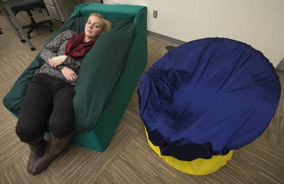chair for autistic child old farmhouse table and chairs blue valley students build that snuggle children with autism into calm   the kansas city star