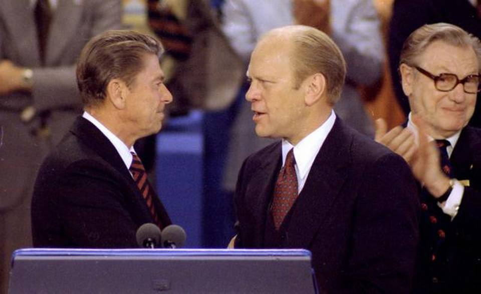 It was in 1976 in Kansas City that Ronald Reagan (left) fought incumbent President Gerald Ford for that year's Republican presidential nomination.