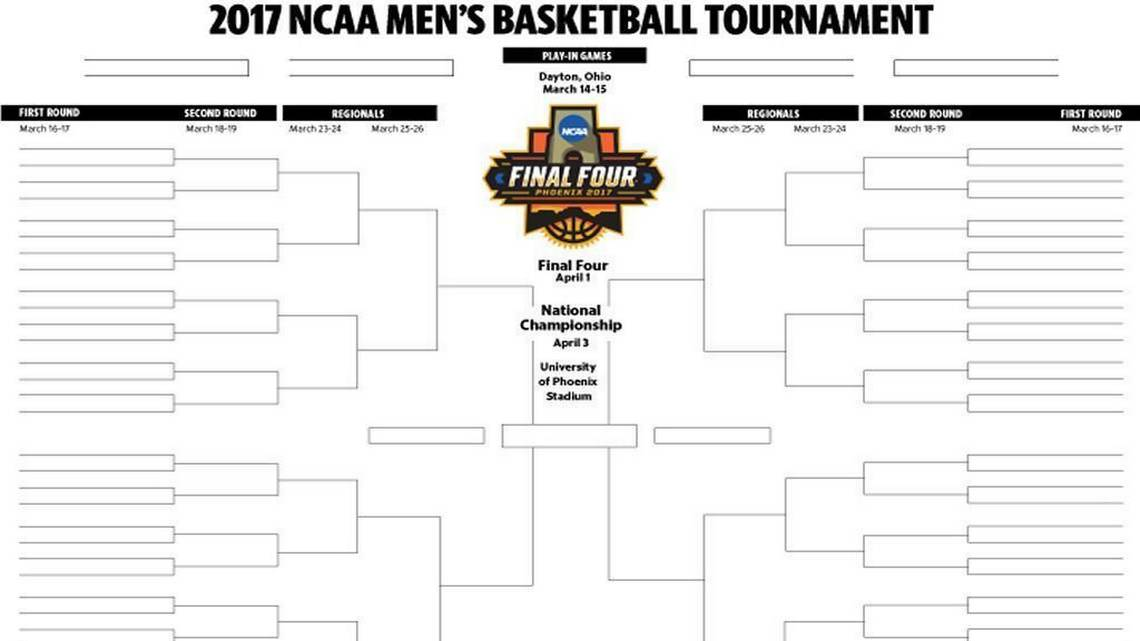 Download and print a 2017 NCAA men's basketball tournament