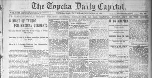 Newspaper clipping from 1895 edition of the Topeka Daily Capitol.