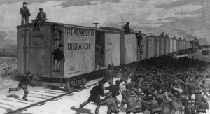 The great railway strike--attempt to start a freight train, under a guard of United States marshals, at East St. Louis, Illinois / from a sketch by G. J. Nebinger.  (courtesy of the Library of Congress)