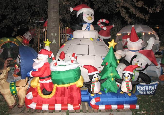 Paulies Penguin Playground Christmas Display In Olathe