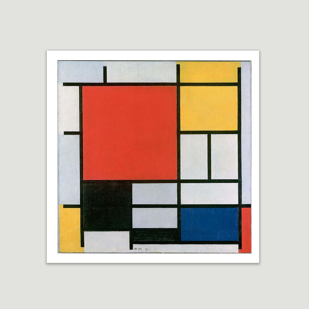 piet mondrian composition en rouge jaune bleu et noir 1921