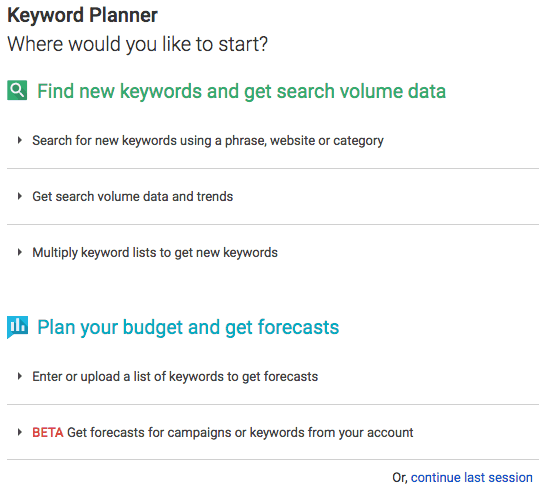 Old style Keyword Planner start screen