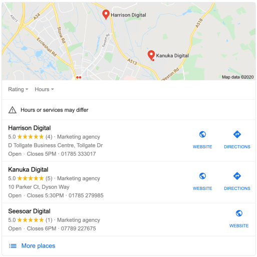 Local businesses shown in a local search term for 'digital marketing Stafford'